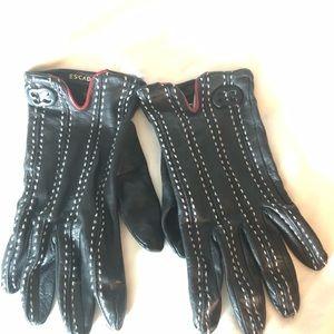 Escada genuine black leather gloves